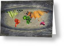 World Fruits Vegetables Map Greeting Card