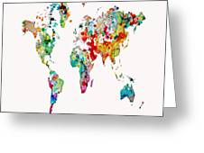 World Map 3b Greeting Card