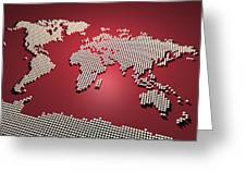 World Map In Red Greeting Card by Michael Tompsett