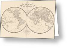 World Map In Two Hemispheres Greeting Card