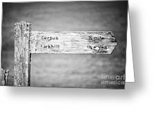 Worn Wooden Direction Sign For Cursus And Larkhill At Stonehenge Wiltshire England Uk Greeting Card