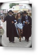 Wyatt Earp  Doc Holiday Escort  Woman  With O.k. Corral In  Background 2004 Greeting Card