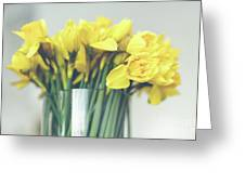 Yellow Narcissuses Bouquet In A Glass Vase Greeting Card