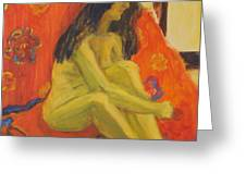 Yellow Nude Greeting Card