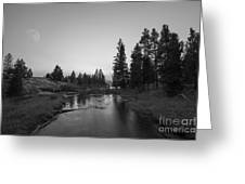 Yellowstone National Park Sunset And Moon Greeting Card