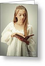 Young Girl Reading A Book Greeting Card