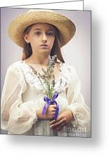 Young Girl With Lavender Greeting Card