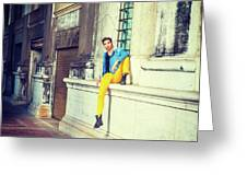 Young Man Relaxing On Street Greeting Card