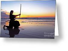 Young Samurai Women With Japanese Katana Sword At Sunset On The Beach Greeting Card