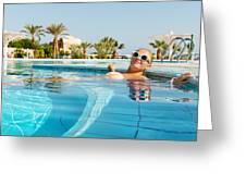 Young Woman Enjoying Warm Water In Pool Greeting Card