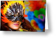 Young Woman With A Colorful Feather Carnival Face Mask On Bright Colorful Background Eye Contact Greeting Card