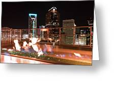 Charlotte North Carolina Skyline View At Night From Roof Top Res Greeting Card