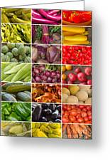 Fruit And Vegetable Collage Greeting Card