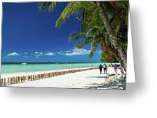 Main Beach Of Tropical Paradise Boracay Island Philippines Greeting Card