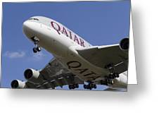 Qatar Airlines Airbus A380 Greeting Card