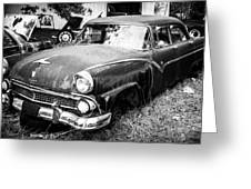 Vintage Autos In Black And White Greeting Card