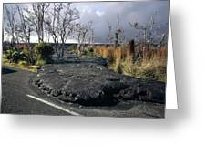 100925 Lava Flow On Road Hi Greeting Card