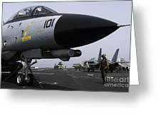 An F-14d Tomcat On The Flight Deck Greeting Card