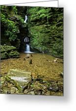Beautiful Flowing Waterfall With Magical Fairytale Feel In Lush  Greeting Card