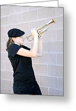 Female Trumpet Player. Greeting Card