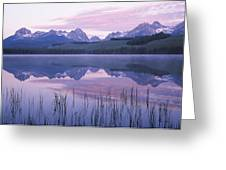 Reflection Of Mountains In A Lake Greeting Card