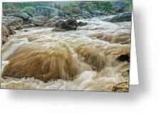 River Water Flowing Through Rocks At Dawn Greeting Card