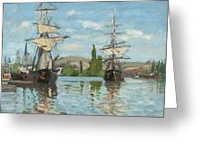 Ships Riding On The Seine At Rouen Greeting Card