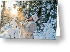 Woman In Forest Greeting Card