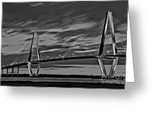 Ravenel Bridge Black And White Sunset Greeting Card