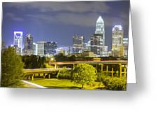 Downtown Of Charlotte  North Carolina Skyline Greeting Card