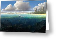 128098 Artwork Sea Fish Clouds Rock Formation Split View Greeting Card