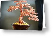 #129 Copper Wire Tree Sculpture Greeting Card