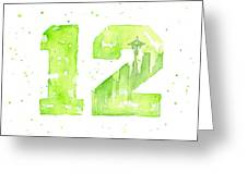 12th Man Seahawks Art Go Hawks Greeting Card