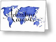 12x16 Adventure Awaits Blue Map Art Greeting Card