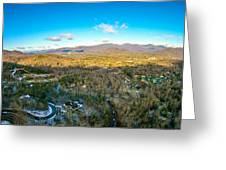 Aerial View On Mountains And Landscape Covered In Snow Greeting Card