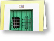 Wooden Door In Old San Juan, Puerto Rico Greeting Card