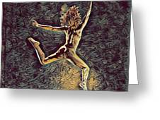 1307s-dancer Leap Fit Black Woman Bare And Free Greeting Card