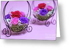 A Gift Of Preservrd Flower And Clay Flower Arrangement, Colorful Greeting Card