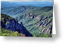 Hawksbill Mountain At Linville Gorge With Table Rock Mountain La Greeting Card