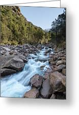 Slow Shutter Photo Of Figarella River At Bonifatu In Corsica Greeting Card