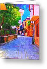 A Digitally Constructed Painting Of Cobbled Back Streets Of Kaleici In Antalya Turkey Greeting Card