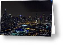 Chicago Night Skyline Aerial Photo Greeting Card