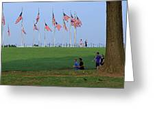 17 Flags 7 People 1 Tree Trunk Greeting Card