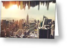 New York Midtown Skyline - Aerial View Greeting Card