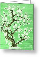 White Tree In Blossom, Painting Greeting Card