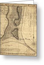 1765 Florida Coast Map Greeting Card