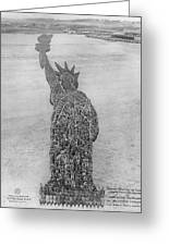 18,000 Officers And Men Form The Statue Of Liberty At Camp Dodge In Iowa. 1917 Greeting Card