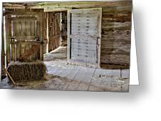 1800's Belgian Hand Hewn Barn Interior Greeting Card