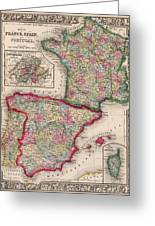 1800s France, Spain And Portugal County Map Color Greeting Card
