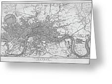 1800s London Map Black And White London England Greeting Card